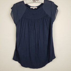 Loft navy pleated blouse size small